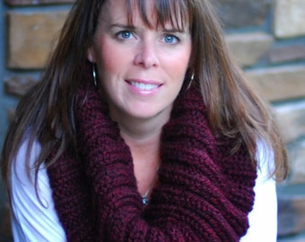 Chunky Knitted Large Ribbed Cowl Snood Scarf Circle Scarf