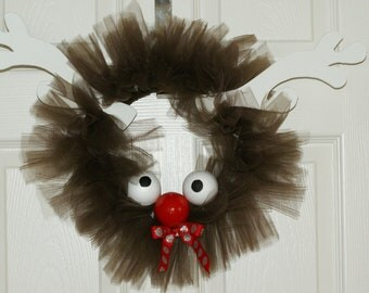 Rudolph the Reindeer. Tulle wreath.