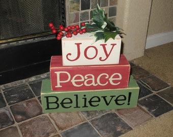 Joy, Peace, Believe Blocks Large Stacker Christmas Decor