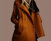 Women's Yellow Double-Breasted Coat Jacket Autumn  Loose Winter  Wool  Coat  Warm Wool Coat S-XXL--- C001Y