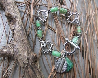 Handmade green glass bead and antique silver toggle clasp bracelet...SALE