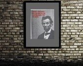 Abraham Lincoln Hand Printed Silk Screen Art Print, Modern Art - 11x14""