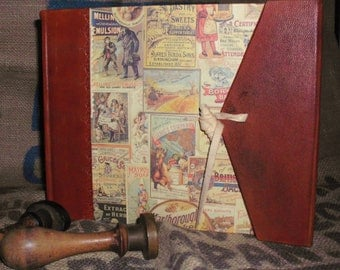 Photo album, vintage, retro -Old advertising-leather and paper