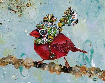 Art Print. Cardinal Blaze. Blue Sky