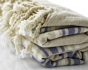 Turkish Towel Peshtemal - Linen and Dark Blue Striped. Linen Turkish Towel