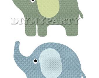 Birthday decor Printable party decor elephant Clip Art Elephant clipart birthday decoration pdf digital birthday party scrapbooking (212)
