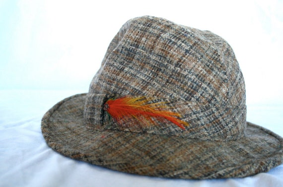 VTG tweed men's fedora with a feather