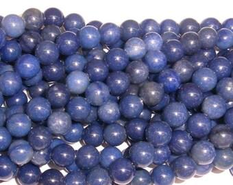 10 mm Round Aventurine Blue Gemstone Beads - 9142