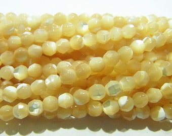3mm Round Cut Shell Natural Light Brown Beads - 9219