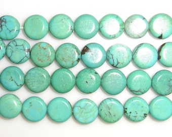 6mm Flat Round Turquoise Beads Genuine Natural 15''L 38cm Loose Beads Semiprecious Gemstone Bead   Supply
