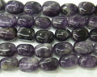 12x16mm Nugget Amethyst Beads Genuine Natural 4245  - 15''L 38cm Loose Beads Semiprecious Gemstone Bead   Supply