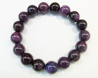 12mm Round AAA Grade Sugilite Beads Genuine Natural Bracelet 20.4cm 8.32 inches Semiprecious Gemstone Bead Wholesale Beads Supply