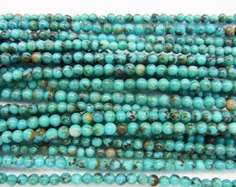 2-3mm Round Turquoise Beads Genuine Natural B Grade 15''L 38cm Loose Beads Semiprecious Gemstone Bead   Supply