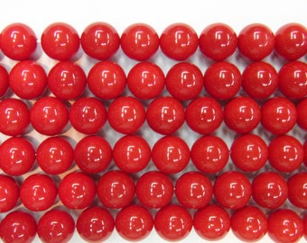 12mm Round Shell Red Coral Type A Grade - 9154