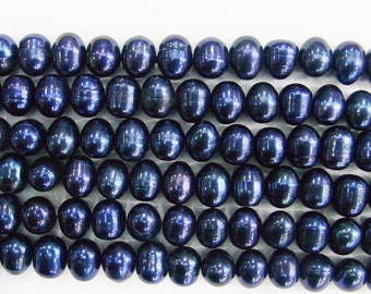 9-10mm Offround Blue Freshwater Pearl 15 inches length, 38 cm - Free shipping