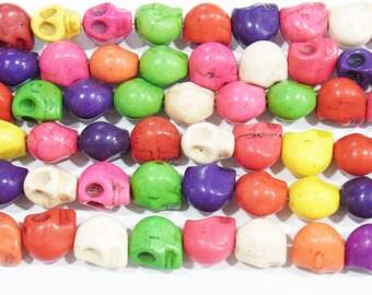 8x10mm Skeleton Head Magnesite Semi Gemstones Beads 15 inches length, 38 cm - 4449-