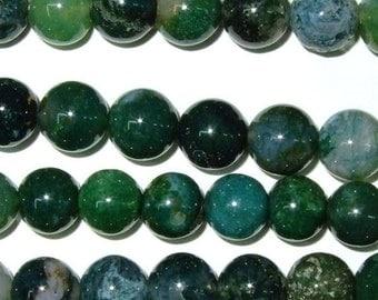 Agate Bead Natural Genuine 12mm Round Moss Beads 15''L Semiprecious Gemstone Bead Wholesale Beads Supply