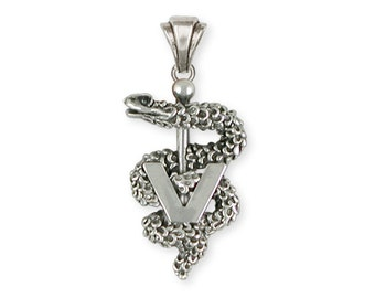 Veterinary Caduceus Pendant Jewelry Solid Sterling Silver VCD-P