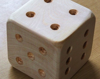 Giant wooden dice or die, ideal for playschool, preschool, or for fun & games.