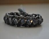 Woven Chain Link Bracelet - Grey/Metallic