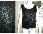 Vintage Mod 50s 60s Sheer Beaded Sequined Glitter Cocktail Top Blouse -Boxy Oversized Flapper Cropped Top - Size Large -  FREE SHIPPING