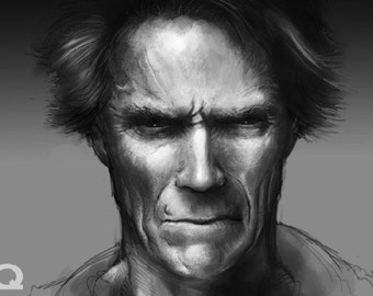 Clint Eastwood Art Sticker by Fred Aquino (Limited Edition)