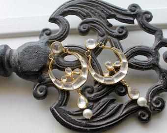 Golden White Mughal Earring - 'The Begum'