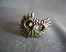 HOOT - handmade upcycled rhinestone adjustable ring