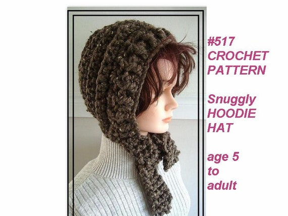 Items similar to CROCHET PATTERN - Hat, snuggly hoodie hat ...