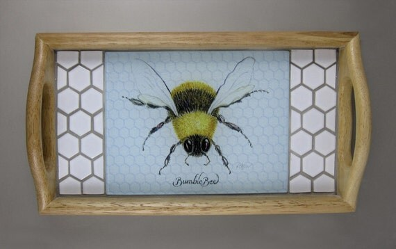 Bumblebee Tile Serving Tray 6 x 8 inch glass and hexagonal