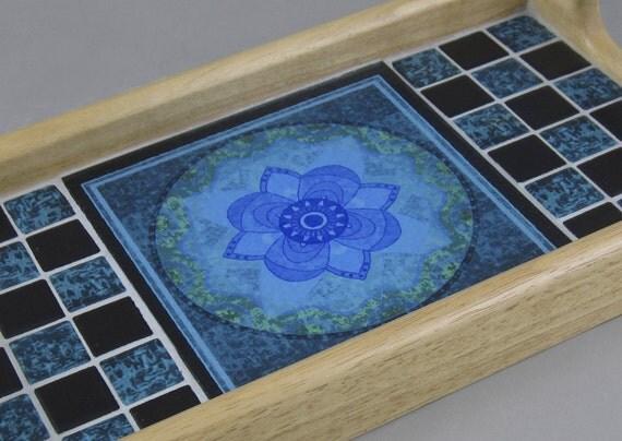 Mandala Tile Wood Serving Tray - Lotus Batik Design on Glass Tile ...