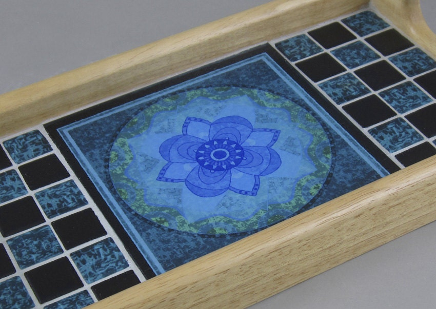 Mandala Tile Wood Serving Tray Lotus Batik by TextAndTileWorks