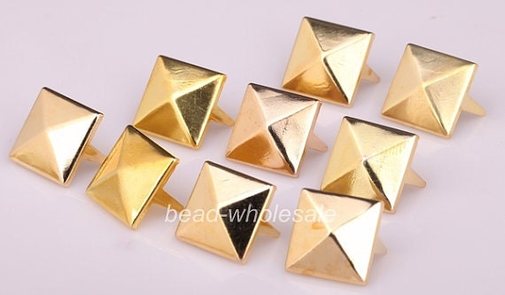 200pcs gold DIY Spike Square Stud Rivet Punk Belt Leathercraft 8mm A2542 hot