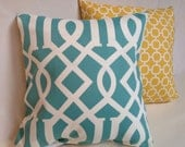 """Aqua lattice and yellow geometric accent pillow cover throw set with zipper, 18x18."""""""