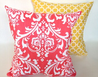SET, Yellow lattice and coral damask accent throw pillow with zippers, 14 x 14""