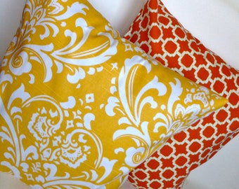 Yellow damask and orange lattice trellis accent pillow cover throw set with zippers, 18x18.""