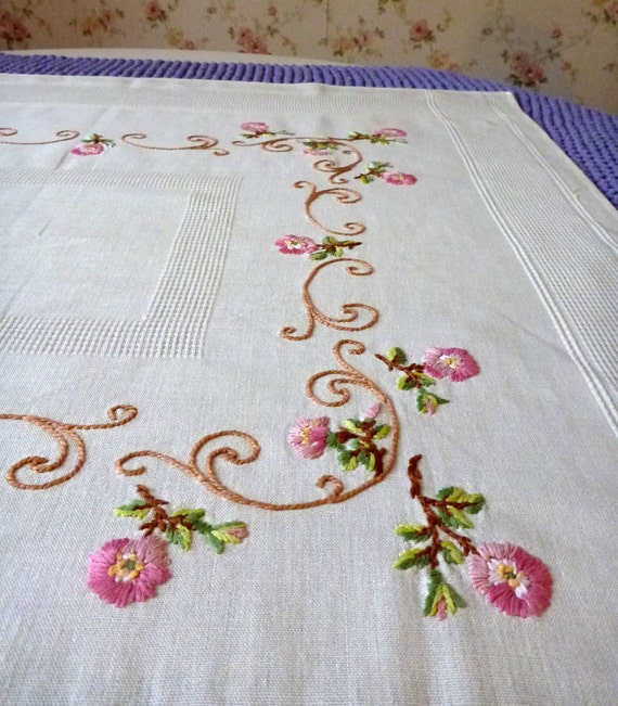 Off White Vintage Cotton Square Tablecloth Roses Embroidery