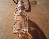 Wire Wrapped Jar with Cork - Necklace - Copper - Small