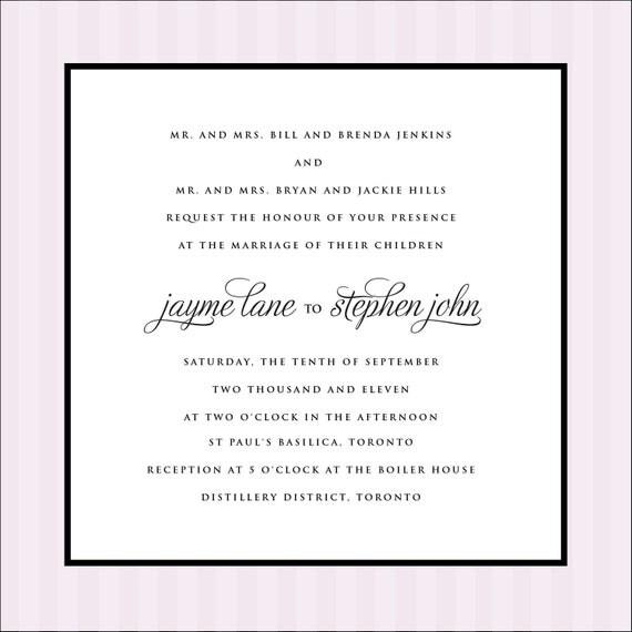 Elegant and modern striped wedding invitation- Printable invitation