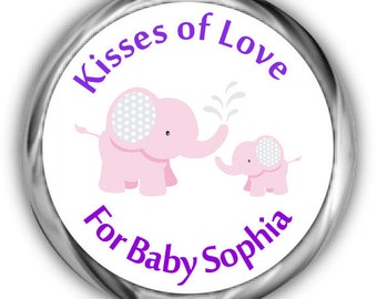 Elephant Baby Shower Hershey Kisses Stickers - Personalized Girl Baby Shower Sticker