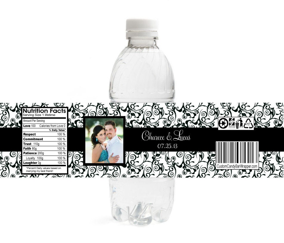 10 baroque photo wedding water bottle labels by announceitfavors