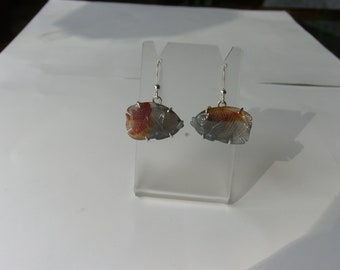 Fish carved agate earrings