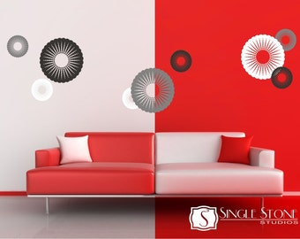 Walll Decals Funky Circles - Vinyl Wall Stickers Art Graphics