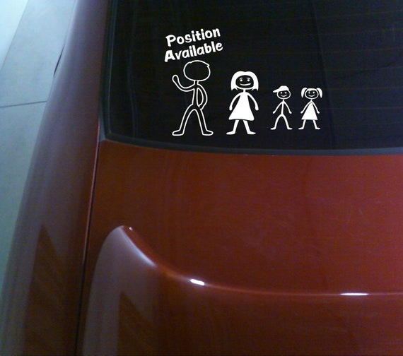 "funny, humor vinyl decal/sticker/graphic single mom decal, car vinyl window decal  ""funny stick figure family husband position available """