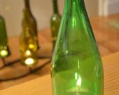 Recycled Perrier Bottle Candle Topper // GREEN glass // 10.25 in