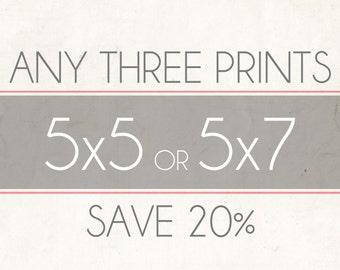 Fine Art Photo Prints, Choose Any Three 5x5 or 5x7 Photographs, Wall Decor