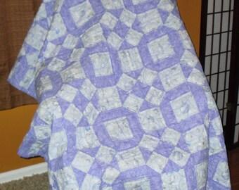 "Hand Sewn Lavender Christmas Ornaments Lap Quilt 54"" x 60"""