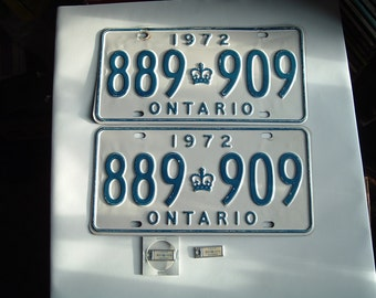 One pair of 1972 Ontario licence plates.  889.909 with matching mini plates.