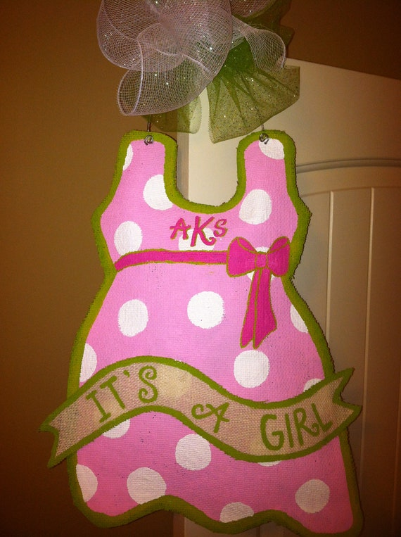 Items Similar To Baby Girl Dress With Banner Burlap Door Hanger On Etsy