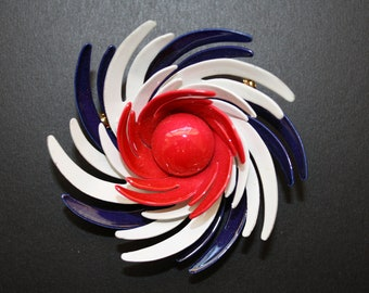 Vintage Red,White and Blue Swirly brooch